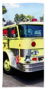 Yellow Fire Truck Beach Towel