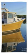 Yellow Fishing Boat Early Morning Beach Towel