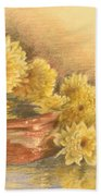 Yellow Flowers With Still Life Beach Towel
