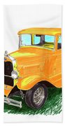 1932 Yellow Ford Hot Rod Coupe Beach Towel