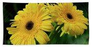 Yellow Gerbera Daisies By Kaye Menner Beach Towel