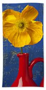 Yellow Iceland Poppy Red Pitcher Beach Towel