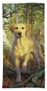Yellow Lab In Fall Beach Towel