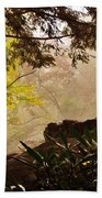 Yellow Leaves In The Mist Beach Towel