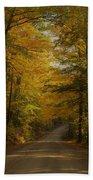 Yellow Leaves Road Beach Towel