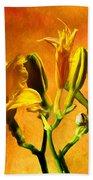 Yellow Lilies Beach Towel