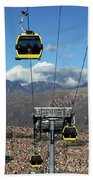 Yellow Line Cable Cars And Andes Mountains Bolivia Beach Towel