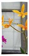 Yellow Orange And Purple Flowers Beach Towel