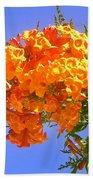 Yellow-orange Horn Flowers 01 Beach Towel