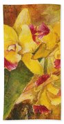 Yellow Orchids Acrylic Beach Towel