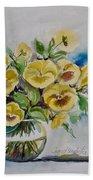 Yellow Pansies Beach Towel