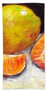 Yellow Pear With Tangerine Slices Grace Venditti Montreal Art Beach Towel