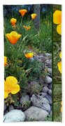 Yellow Poppies Collage  Beach Towel