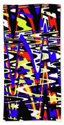 Yellow Red Blue Black And White Abstract Beach Towel