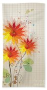 Yellow Red Floral Illustration Beach Towel
