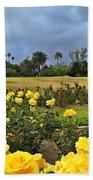 Yellow Roses And Dark Sky Beach Towel