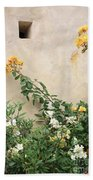Yellow Roses And Tiny Window At Carmel Mission Beach Towel