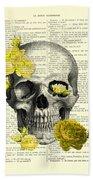 Skull With Yellow Roses Dictionary Art Print Beach Towel