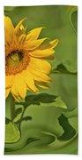 Yellow Sunflower On Green Background Beach Towel