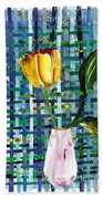 Yellow Tulip In A Pink Vase Beach Towel