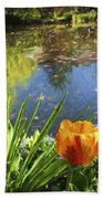 Yellow Tulip In Giverny  Beach Towel