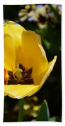 Yellow Tulip With Red Stripe Beach Towel