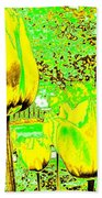 Yellow Tulips Abstract Beach Towel