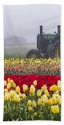 Yellow Tulips And Tractors Beach Towel