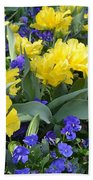 Yellow Tulips And Violets Beach Towel
