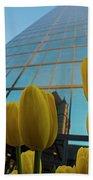 Yellow Tulips Looking Up At The Hancock Boston Ma Beach Towel