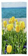 Yellow Tulips Near Lake Beach Towel