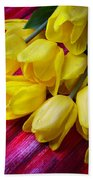 Yellow Tulips With Dew Drops Beach Towel