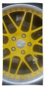 Yellow Vette Wheel Beach Towel