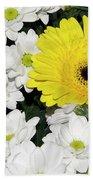 Yellow White Flowers Beach Towel