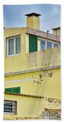 Yellow Worn Out Concrete House Beach Towel