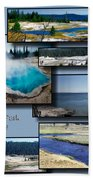 Yellowstone Park August Panoramas Collage Beach Towel