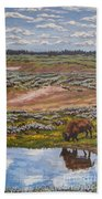 Yellowstone Reflections Beach Sheet by Erin Fickert-Rowland