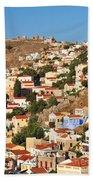 Yialos Town On Symi Island Beach Towel