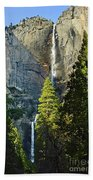Yosemite Falls With Late Afternoon Light In Yosemite National Park. Beach Towel