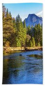 Yosemite Merced River With Half Dome Beach Towel