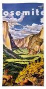 Yosemite National Park Vintage Poster Beach Towel