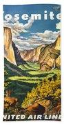 Yosemite Park Vintage Poster Beach Towel