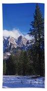 Yosemite Three Brothers In Winter Beach Towel