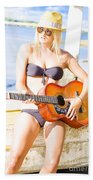 Young Attractive Blonde Woman Playing Guitar Beach Towel