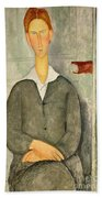 Young Boy With Red Hair Beach Towel by Amedeo Modigliani