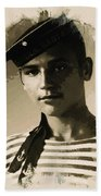 Young Faces From The Past Series By Adam Asar, No 39 Beach Towel