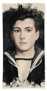 Young Faces From The Past Series By Adam Asar, No 48 Beach Towel