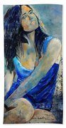 Young Girl In Blue Beach Towel