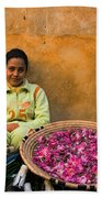 Young Girl Selling Rose Petals In The Medina Of Fes Morroco Beach Towel
