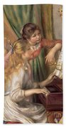 Young Girls At The Piano Beach Towel by Pierre Auguste Renoir
